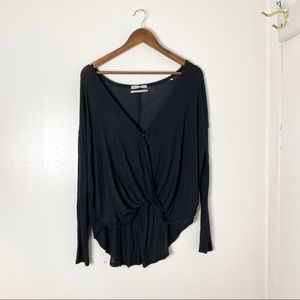 Urban Outfitters Black Cross Over Long Sleeve Top